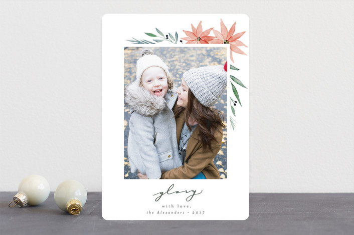"""""""Floral Glory"""" - Christmas Photo Cards in Leaf by Everett Paper Goods."""