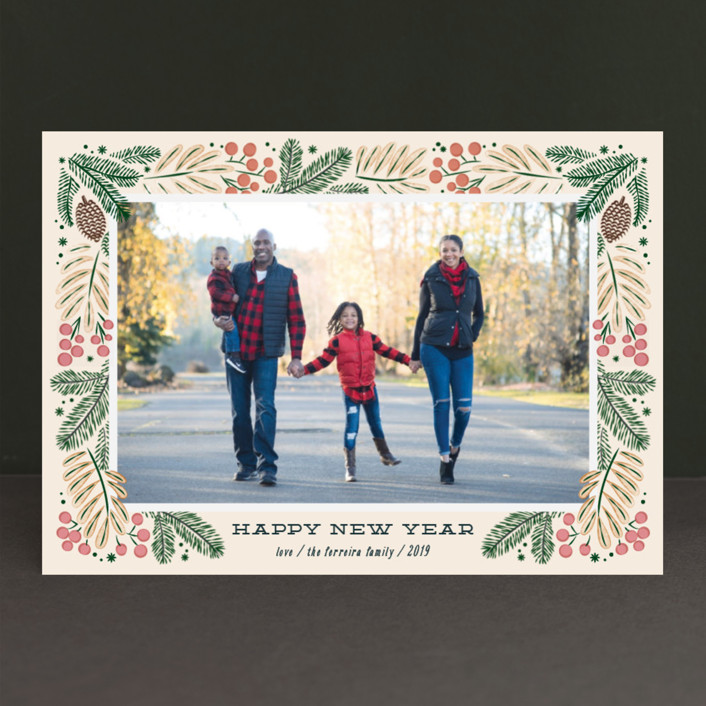 """""""Foliage wreath"""" - Christmas Photo Cards in Mint by Ana de Sousa."""