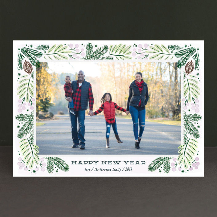 """Foliage wreath"" - Christmas Photo Cards in Mint by Ana de Sousa."