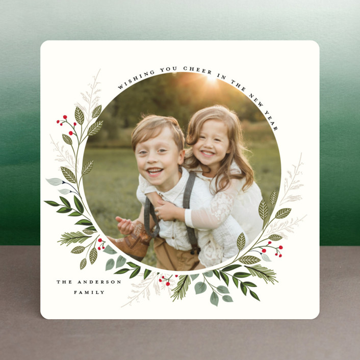 """Mistletoe Kissed"" - Christmas Photo Cards in Fern by Susan Moyal."