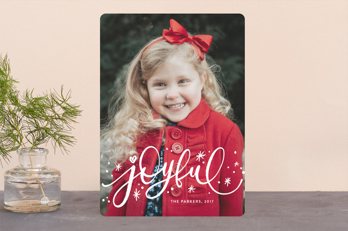 """Whimsically Joyful"" - Christmas Photo Cards in Snow by Iba Aziz."