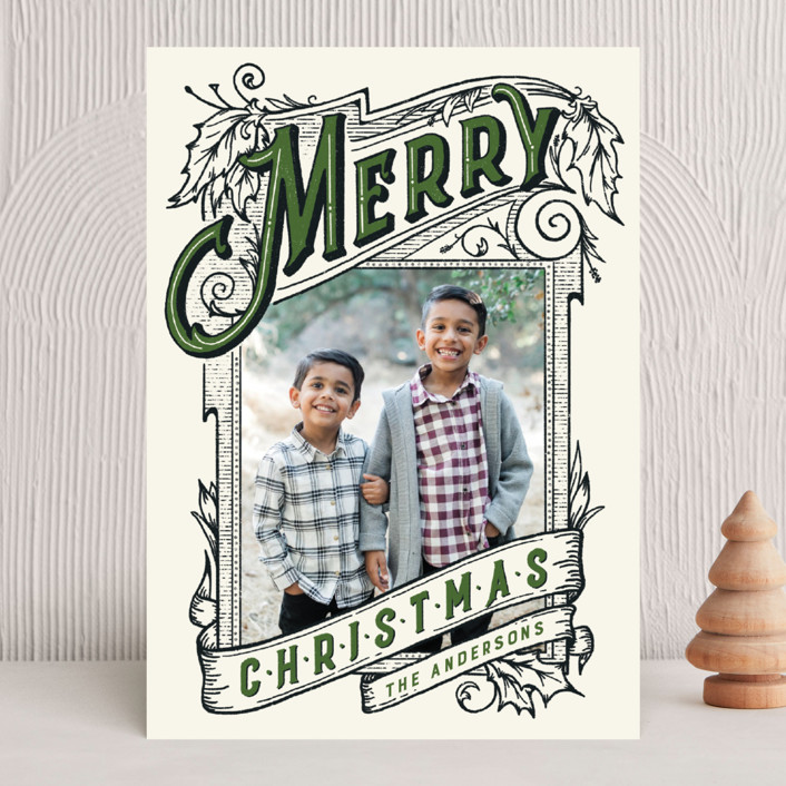 """""""A Vintage Christmas"""" - Vintage Christmas Photo Cards in Evergreen by GeekInk Design."""