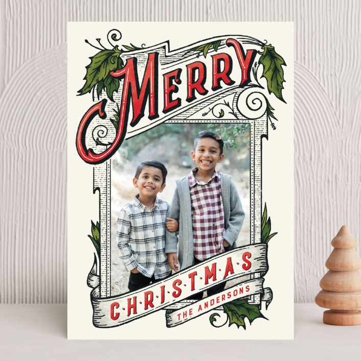 """""""A Vintage Christmas"""" - Vintage Christmas Photo Cards in Holly by GeekInk Design."""