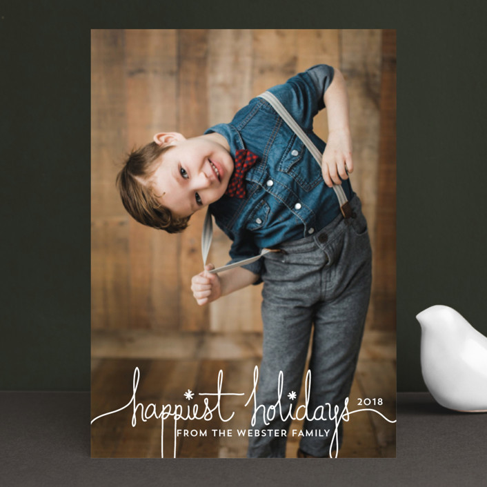 """""""Holiday Revelry"""" - Christmas Photo Cards in Frost by Design Lotus."""