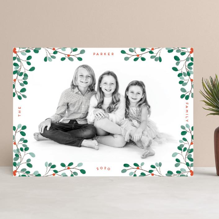 """""""A little Mistletoe"""" - Christmas Photo Cards in Mistletoe by Gwen Bedat."""
