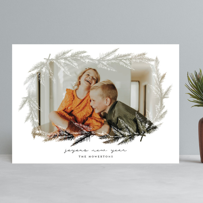 """""""evergreen branches"""" - Christmas Photo Cards in Snow by Lissabeth Anglin."""