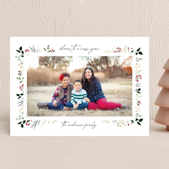 """""""Love, Peace & Hope"""" - Christmas Photo Cards in Crimson by Susan Moyal."""