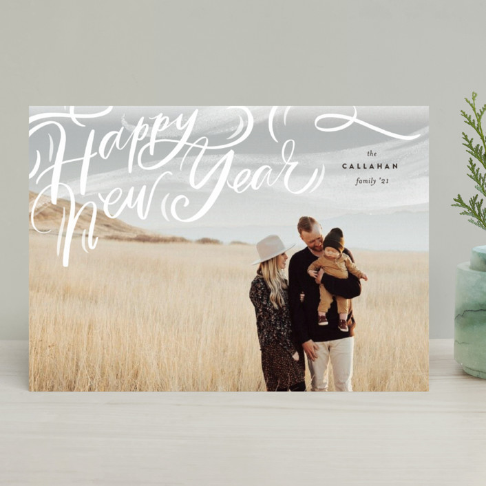 """Windswept"" - Bohemian Christmas Photo Cards in Cocao by Julie Murray."