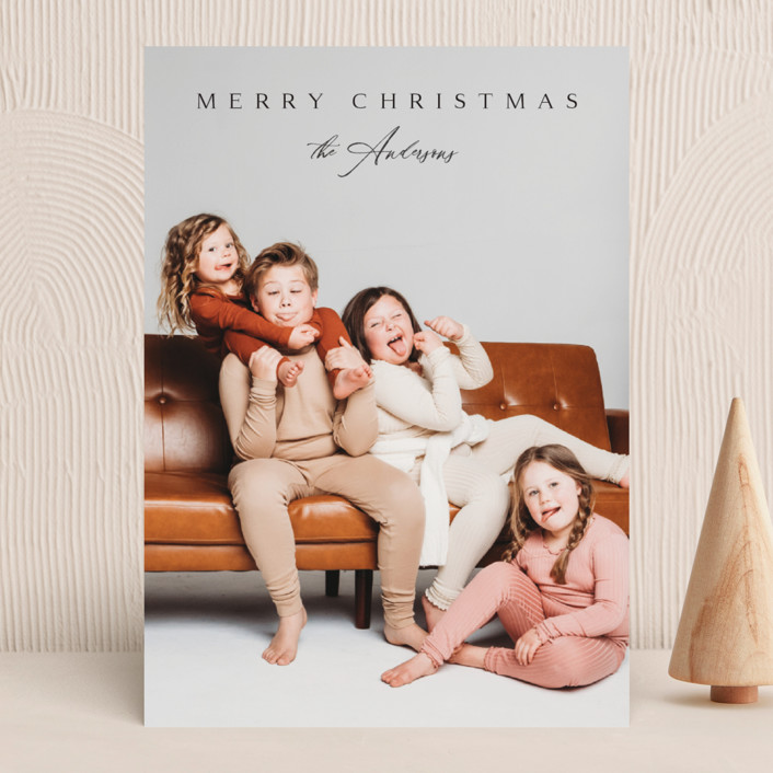 """""""Classical"""" - Christmas Photo Cards in Coal by Kasia Labocki."""