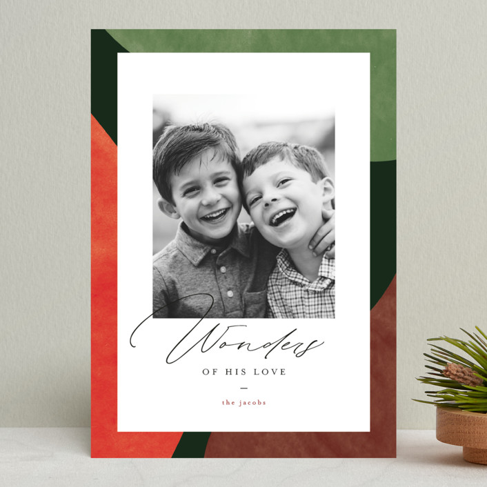 """Colorful Wonders"" - Modern Christmas Photo Cards in Wreath by Pixel and Hank."