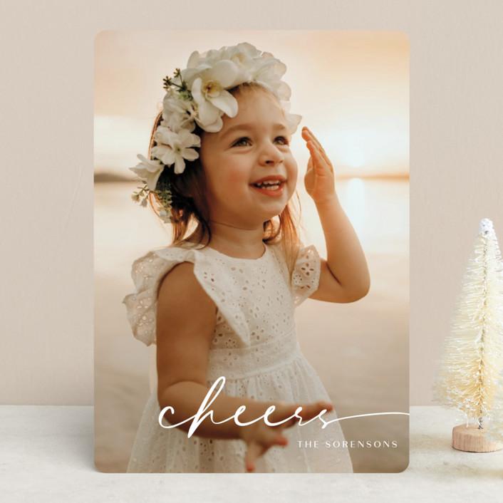 """Believe Script"" - Christmas Photo Cards in Snow by GeekInk Design."