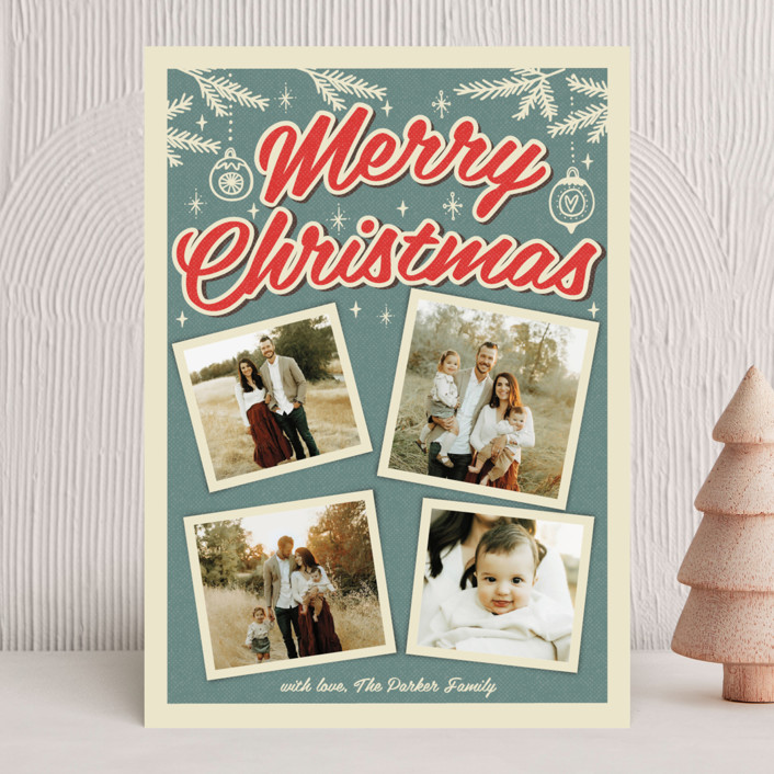 """""""Retro Christmas"""" - Vintage Christmas Photo Cards in Steel Blue by Nam Bourassa."""