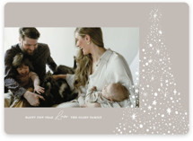 This is a grey photo christmas card by Annie Clark called Glimmering Tree with standard printing on smooth signature in standard.