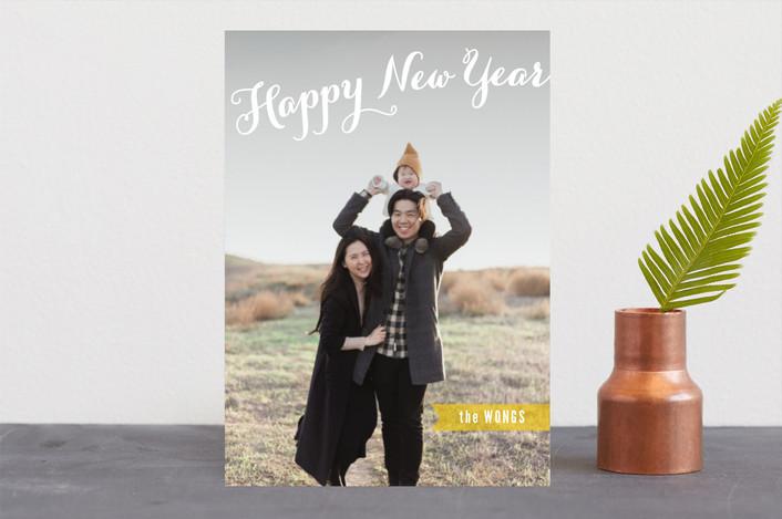 """Joyful Script"" - Full-Bleed Photo Christmas Photo Cards in Lemondrop by Hooray Creative."
