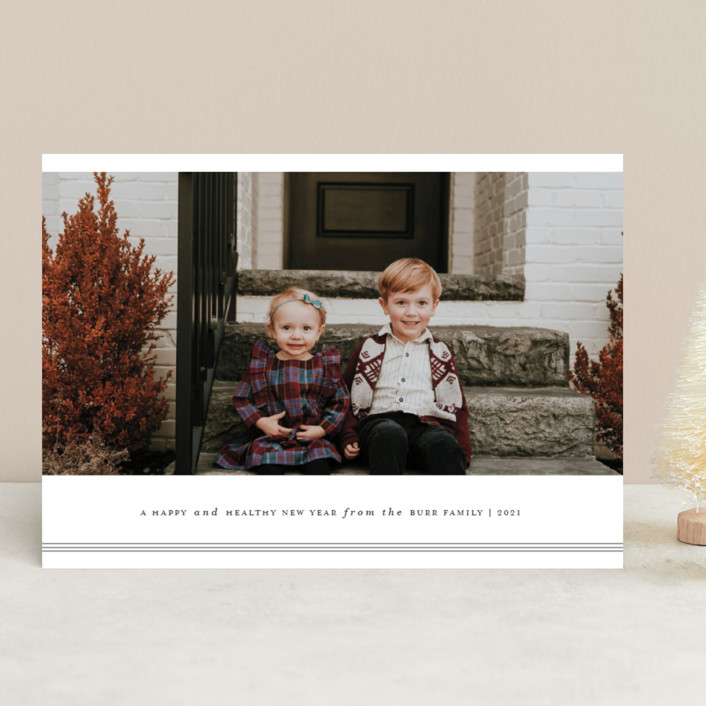 """Triline"" - Christmas Photo Cards in Charcoal by That Girl Press."