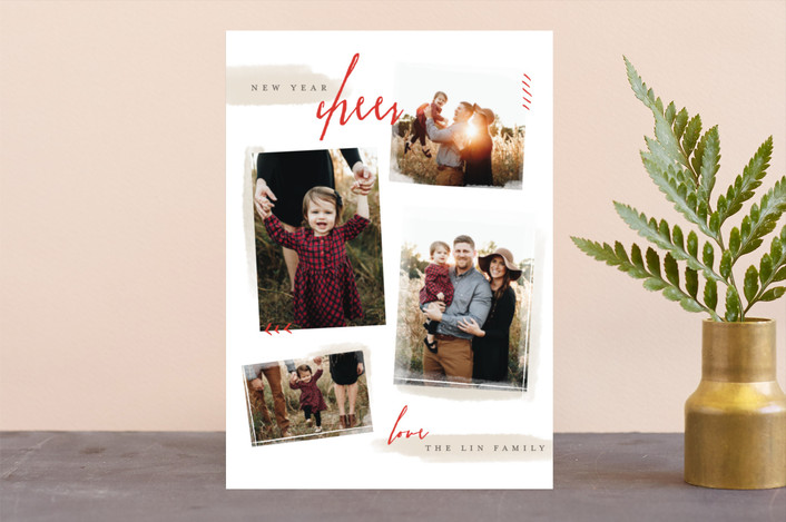 """Chic Collage"" - Christmas Photo Cards in Holly by Pistols."