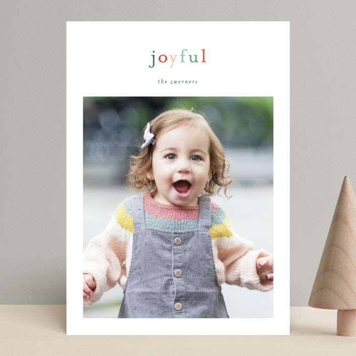 """Joyful Rainbow"" - Christmas Photo Cards in Holly Berry by Sara Hicks Malone."