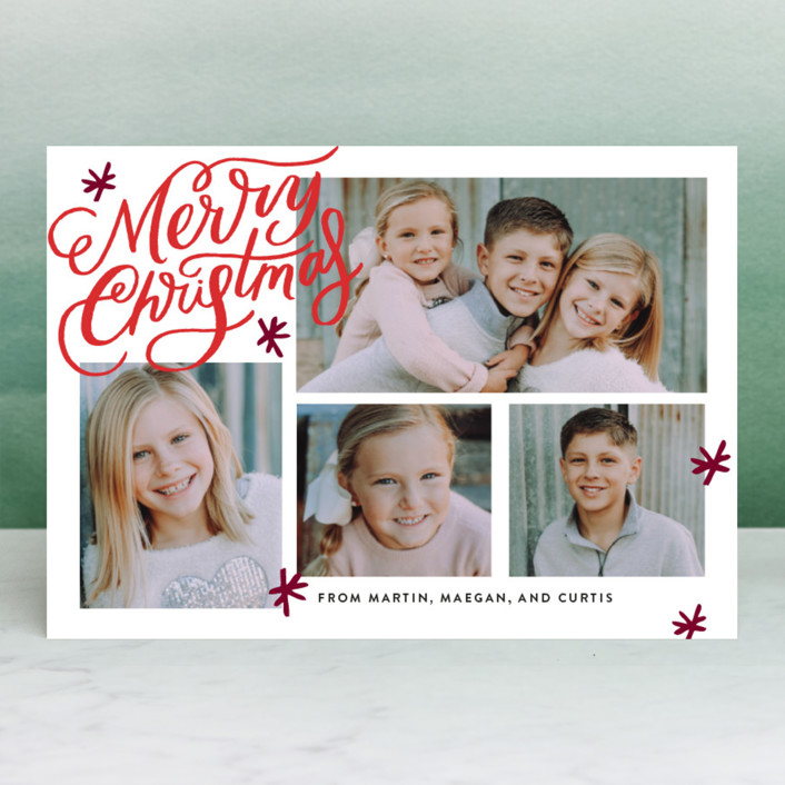 """""""Collage Shimmer Script"""" - Christmas Photo Cards in Holly by Alethea and Ruth."""