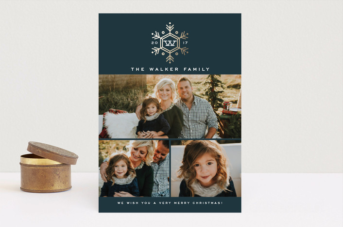 """Seasonal Monogram"" - Christmas Photo Cards in Midnight by Oscar and Emma."