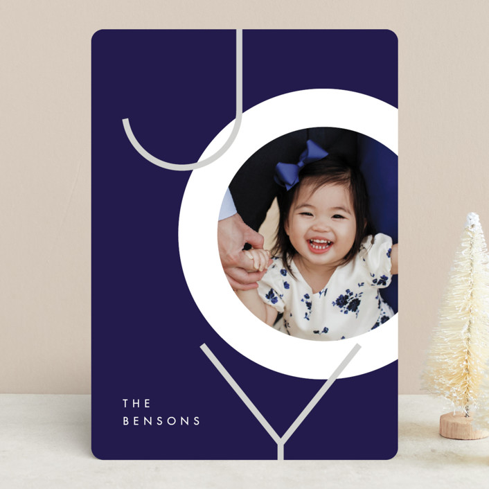 """Boldly Modern"" - Christmas Photo Cards in Navy by JeAnna Casper."