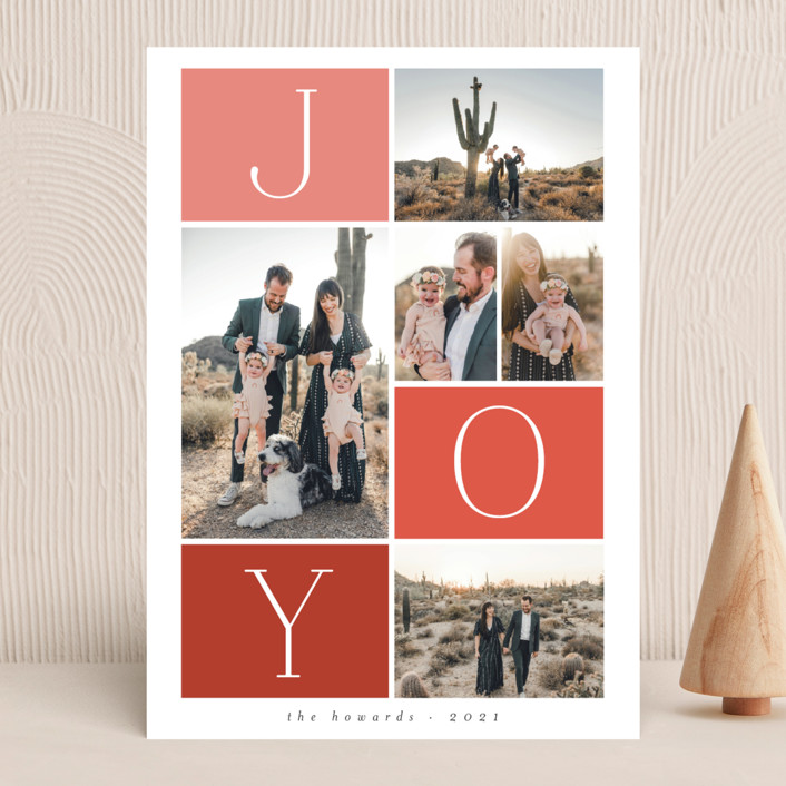 """""""Blocks"""" - Christmas Photo Cards in Holly Berry by Morgan Kendall."""