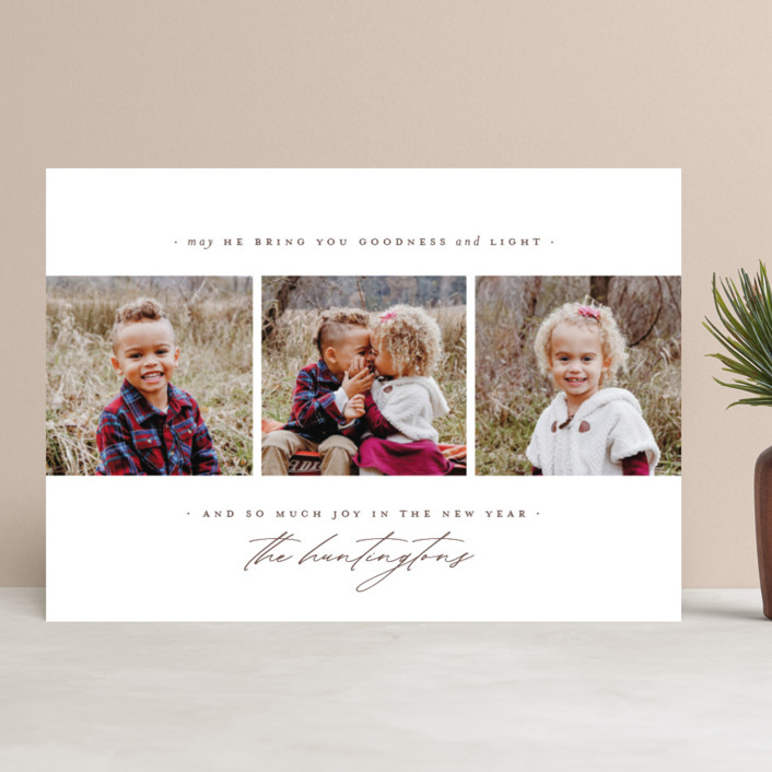 """""""goodness + light"""" - Christmas Photo Cards in Moss by Wildfield Paper Co.."""