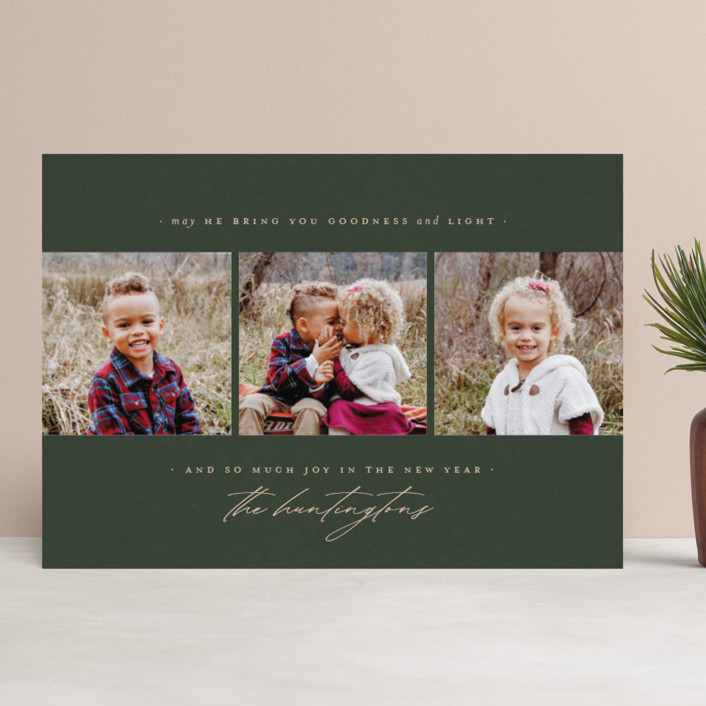 """""""goodness + light"""" - Christmas Photo Cards in Pinion by Wildfield Paper Co.."""