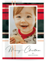 This is a green photo christmas card by Carrie ONeal called Plaid Popover with standard printing on signature in standard.