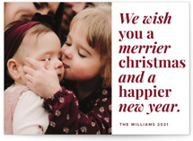 This is a red photo christmas card by Playground Prints called Merrier Days Ahead with standard printing on doublethick in standard.
