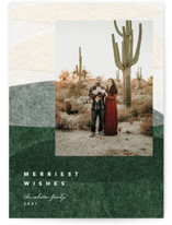 This is a green photo christmas card by Carrie Moradi called organic collage layers with standard printing on recycled smooth signature in standard.