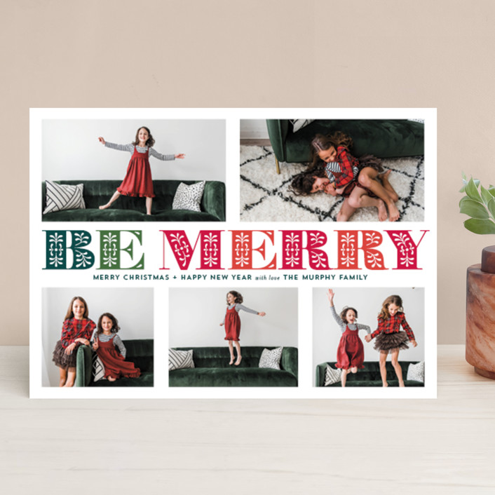 """Ornate Be Merry"" - Christmas Photo Cards in Evergreen by Coco and Ellie Design."