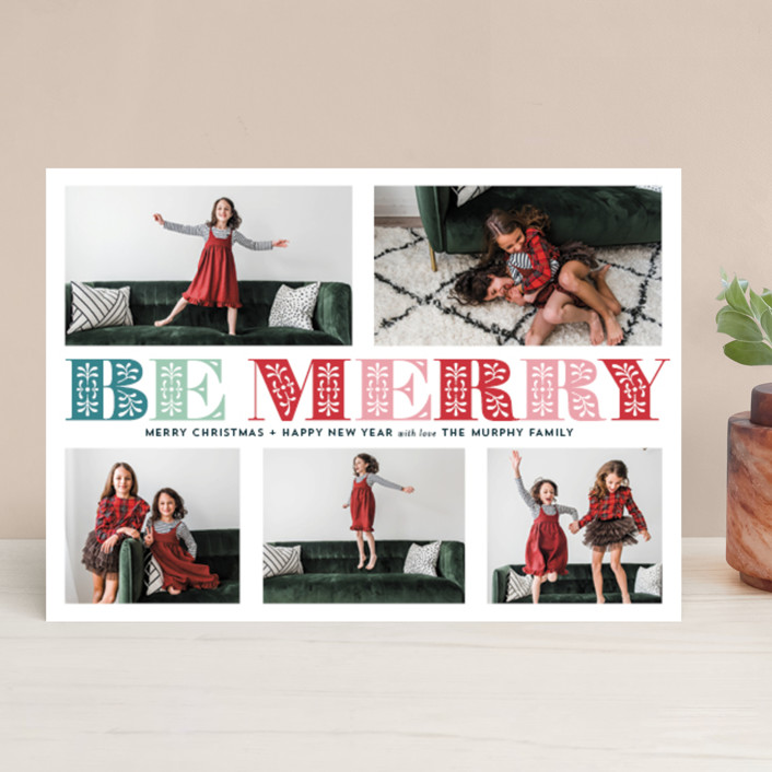 """""""Ornate Be Merry"""" - Christmas Photo Cards in Turquoise by Coco and Ellie."""