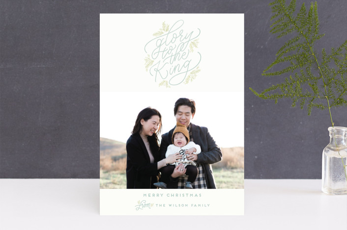 """Glory to the King"" - Christmas Photo Cards in Sage by Julie Murray."