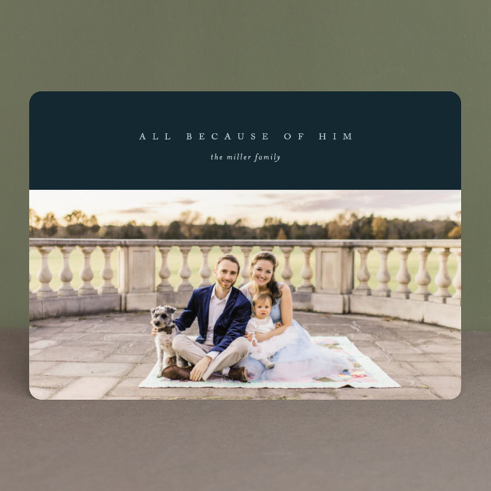 """""""All Because of Him"""" - Christmas Photo Cards in Navy by Erin L. Wilson."""