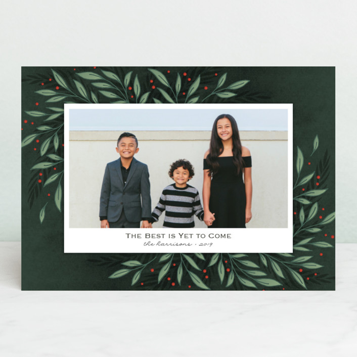 """Classic Greenery"" - Christmas Photo Cards in Smoke by Lorent and Leif."