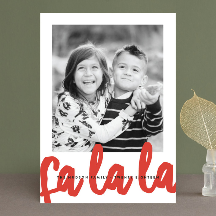 """Fa La La"" - Modern Christmas Photo Cards in Candy Cane by Erica Krystek."
