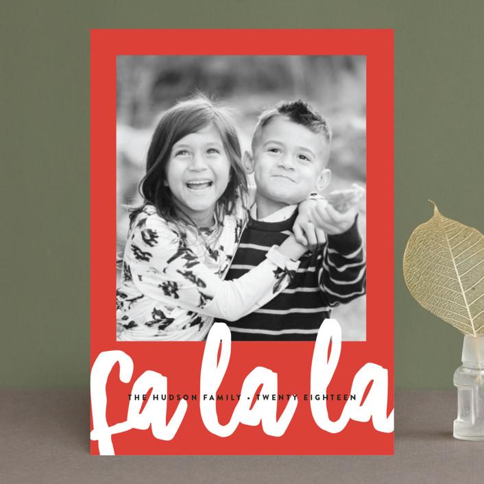 """Fa La La"" - Modern Christmas Photo Cards in Candy Cane by Erica Krystek."