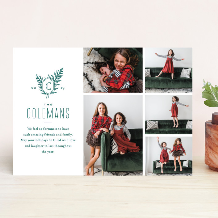 """Modern Classic"" - Christmas Photo Cards in Pine by Oscar & Emma."