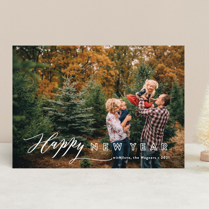 """""""All In"""" - Modern Christmas Photo Cards in Berry by Jennifer Wick."""