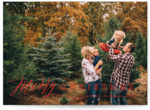 This is a red photo christmas card by Jennifer Wick called All In with standard printing on smooth signature in standard.