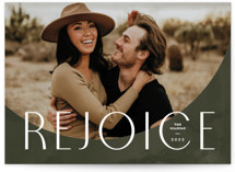 This is a green photo christmas card by Pixel and Hank called Rejoice Arc with standard printing on triplethick in standard.