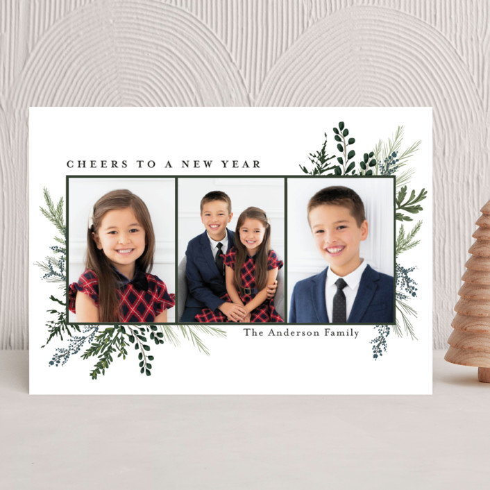"""""""Happy Holidays"""" - Christmas Photo Cards in Pine by Susan Moyal."""