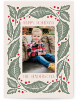This is a pink photo christmas card by Katharine Watson called Bold Holly Branch with standard printing on signature in standard.