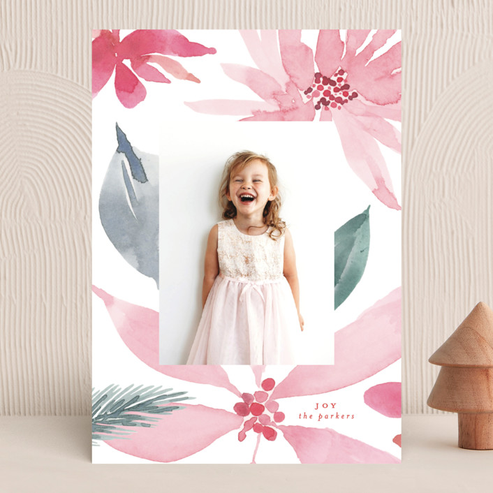 """""""bold poinsettias"""" - Christmas Photo Cards in Candy Cane by Phrosne Ras."""