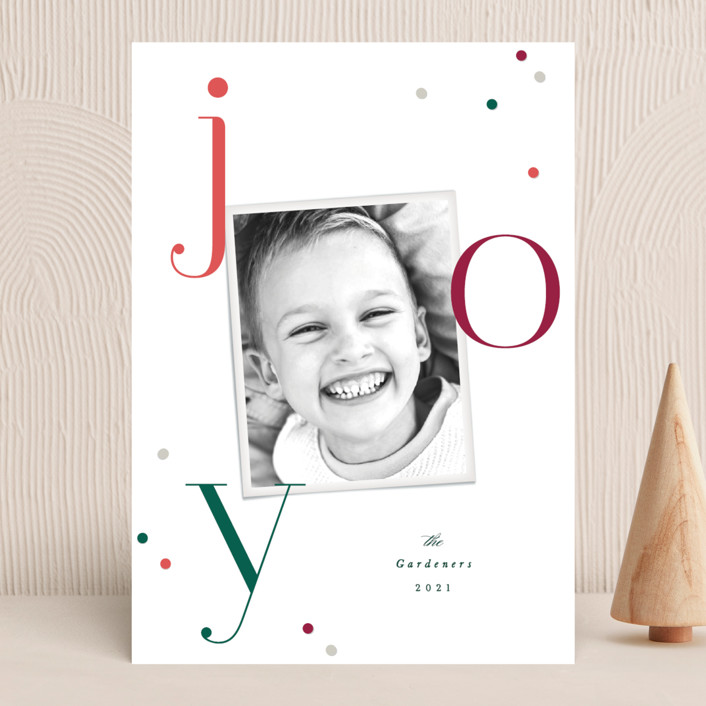 """""""Smart Joy"""" - Christmas Photo Cards in Holly Berry by Hooray Creative."""
