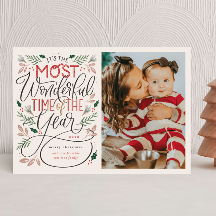 """""""The Most Wonderful"""" - Vintage Christmas Photo Cards in Cozy by Erin German."""