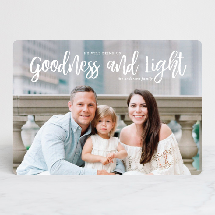 """goodness + light"" - Christmas Photo Cards in Snow by Guess What Design Studio."