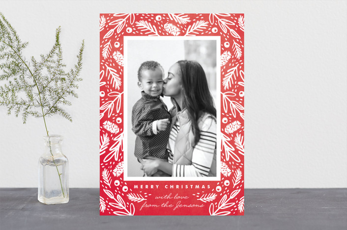 """Watercolor Forest Frame"" - Christmas Photo Cards in Berry by Kristie Kern."