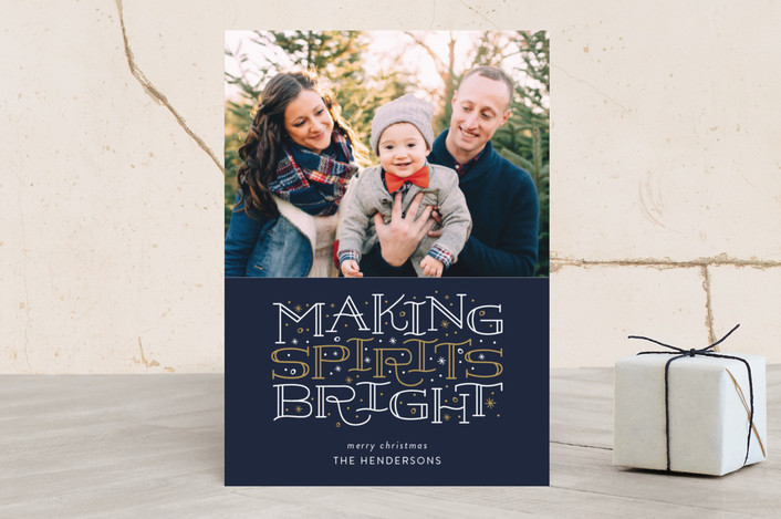 """Brightest Spirits"" - Christmas Photo Cards in Midnight by Sarah Guse Brown."