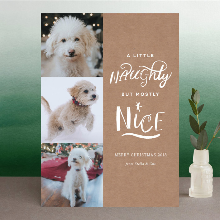 """A Little Naughty"" - Christmas Photo Cards in Candy Cane by Kelly Nasuta."